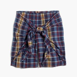 New Madewell plaid tie-front skort shorts XS
